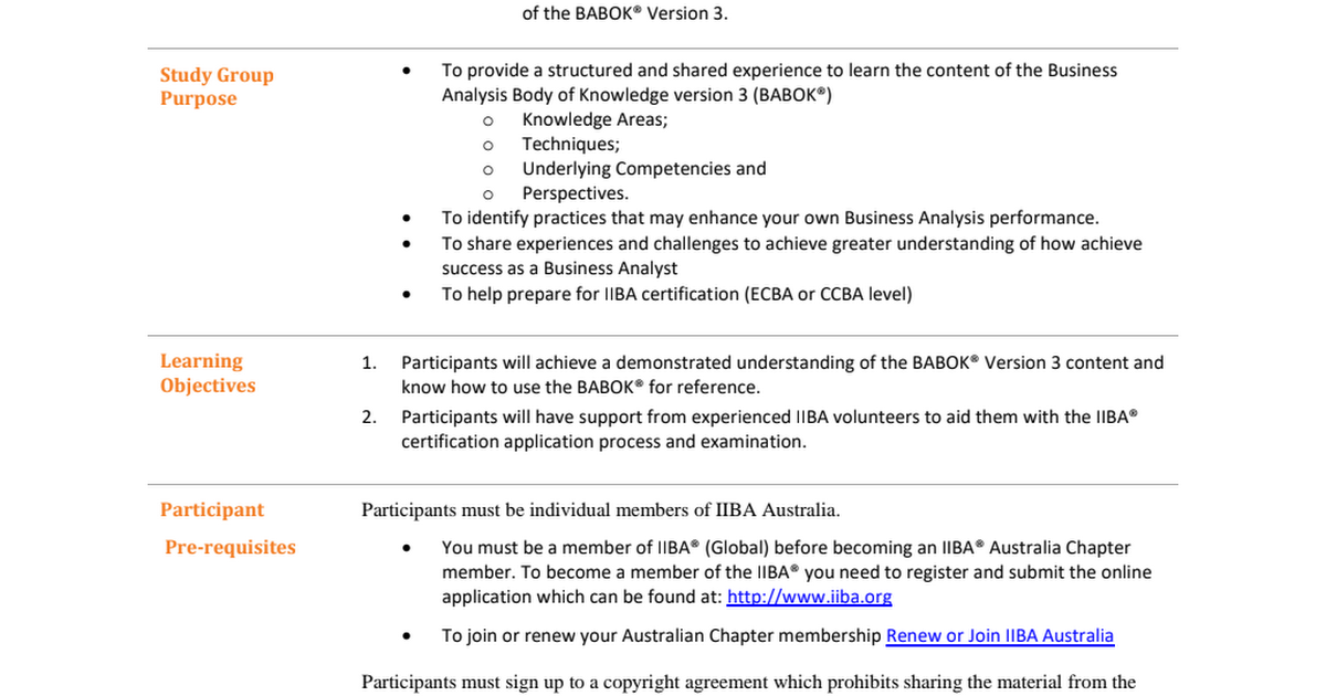 Iiba Australia Base Babok V3 Study Group Syllabuspdf Google Drive