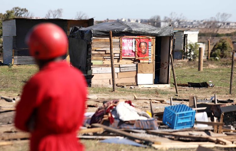 A member of the Red Ants during the demolition of shacks in Dunoon, Cape Town, on April 25 2019. The Socio-Economic Rights Institute (Seri) has joined the call to prohibit evictions during the lockdown. File photo.