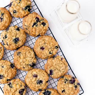 White Chocolate Blueberry Oatmeal Cookies.