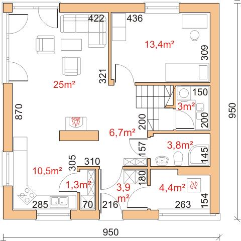 Dom przy Cyprysowej 2 - Rzut parteru