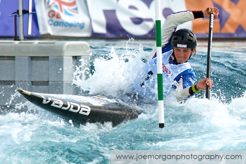 Photo: Mallory Franklin of Shpperton SCC in the Women's Canoe singles class during the Olympic Qualifier event at the Lee Valley water centre