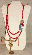 Photo: # 119АUTUMN PRELUDE ~ ОСІННЯ ПРЕЛЮДІЯ - copper enamel pendant, coral, 14K gold vermeil $160/set SOLD
