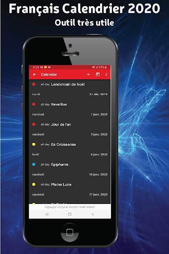 Français Calendrier 2020 Avec Jours Fériés By Devapps Mobile