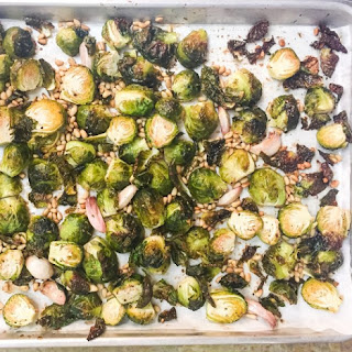 Roasted Brussels Sprouts With Pine Nuts and Garlic.