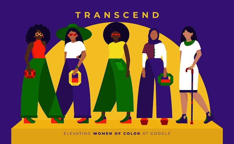 Illustration of 5 women with 'Transcend' written above them and the words 'Elevating Women of Color at Google' below.
