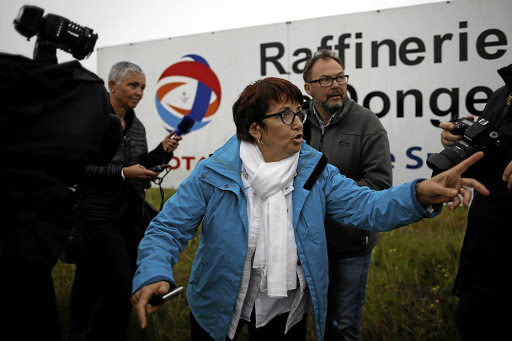 Christiane Lambert, president of France's farmer's union group FNSEA, talks to journalists during a protest by French farmers near the French oil giant Total refinery in Donges, France, on June 11 2018. Picture: REUTERS/STEPHANE MAHE
