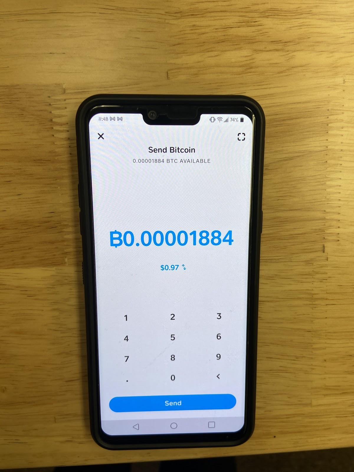 Image depicting a screenshot in CashApp - Indicating the Bitcoin Amount Input field with an example amount