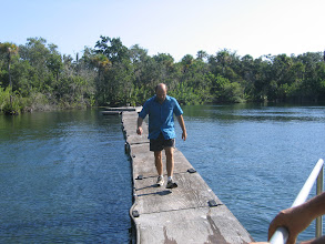 Photo: Dasovich walking the plank over Little Salt Springs, Sarasota, Florida.