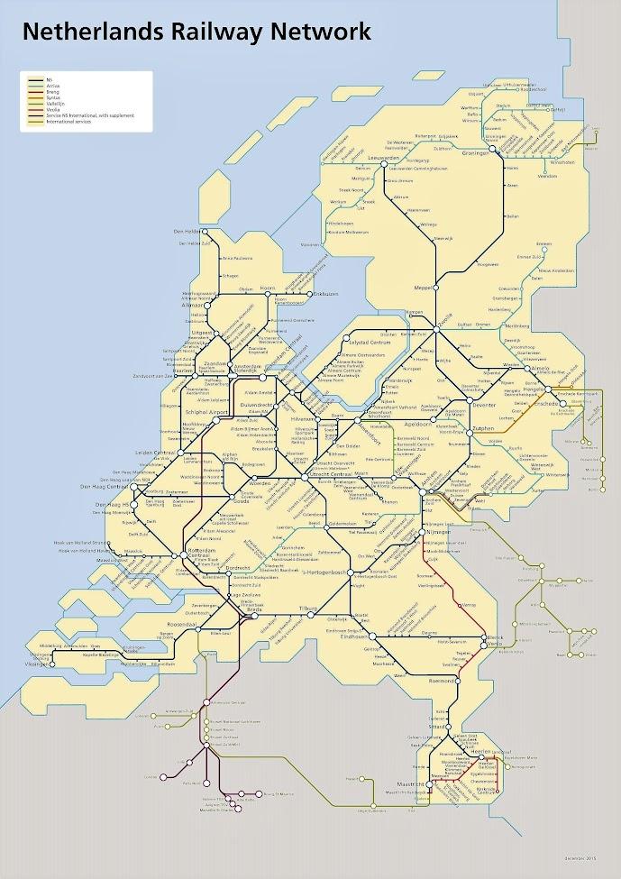 Carte réseau ferroviaire aux Pays Bas