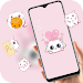 Cartoon Cute Pink Cat Love theme icon