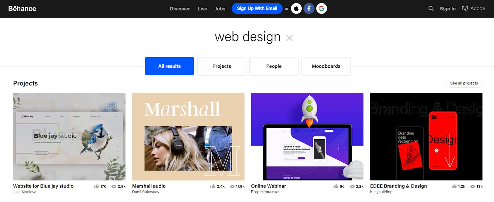 Behance homepage, website design ideas.