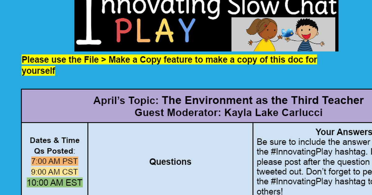 Next #InnovatingPlay Chat Questions - Google Docs