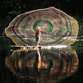The Net Caster (1) by Lucky E. Santoso - People Fine Art