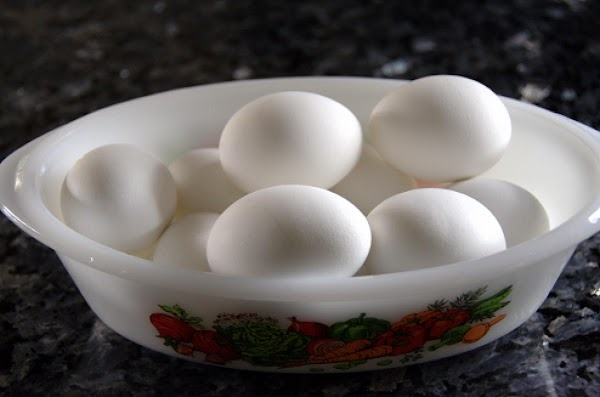 """These hard """"boiled"""" eggs can be put into a bowl, let them cool and..."""