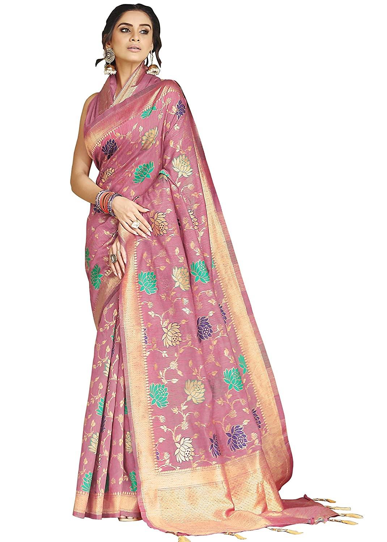 Heavy Zari Geometric Woven Banarasi Silk Saree
