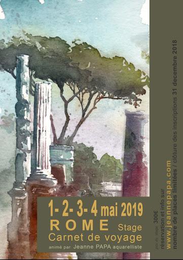 Jeanne PAPA aquarelles_STAGE CARNET DE VOYAGE_ ROME  2019_ avril  2019_