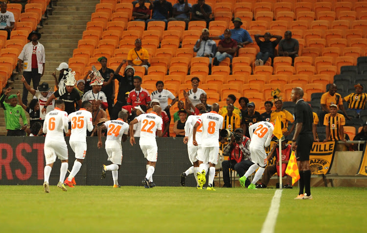 Polokwane City players celebrating a goal during Absa Premiership match against Kaizer Chuefs at FNB Stadium in Johannesburg, south west of Soweto, on January 18, 2018.