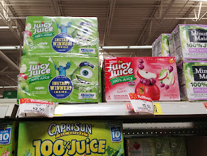 Photo: Here was the Juicy Juice we wanted. We decided on the Monster's U apple flavor because my kids love the movie. We are happy that its 100% juice but also really happy that it was on sale.