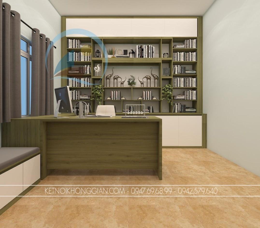 thiết kế nội thất phòng đọc sách kiêm phòng làm việc 2