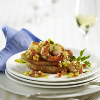 Garlic Prawns and Salsa on Crostini