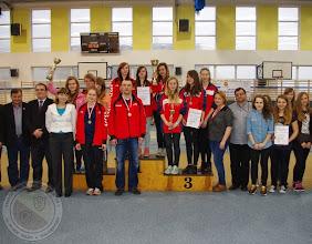 Photo: Podlaska Gimnazjada Strzelecka - w konkurencji karabin pneumatyczny 30 drużyna dziewcząt II miejsce
