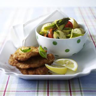 Schnitzel with Asparagus Potato Salad.