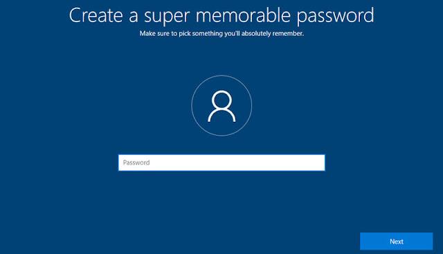 Create a password in Windows 10 installation