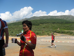 Photo: Cheryl at the Puerto Castilla (High point on road to Plasencia)