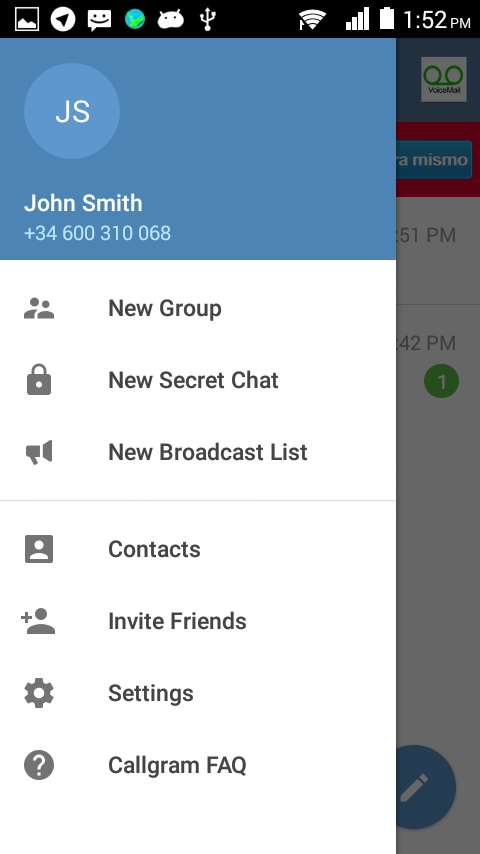 Callgram messaging with calls- screenshot