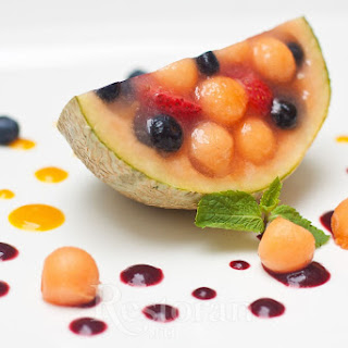 Melon With Black Grapes