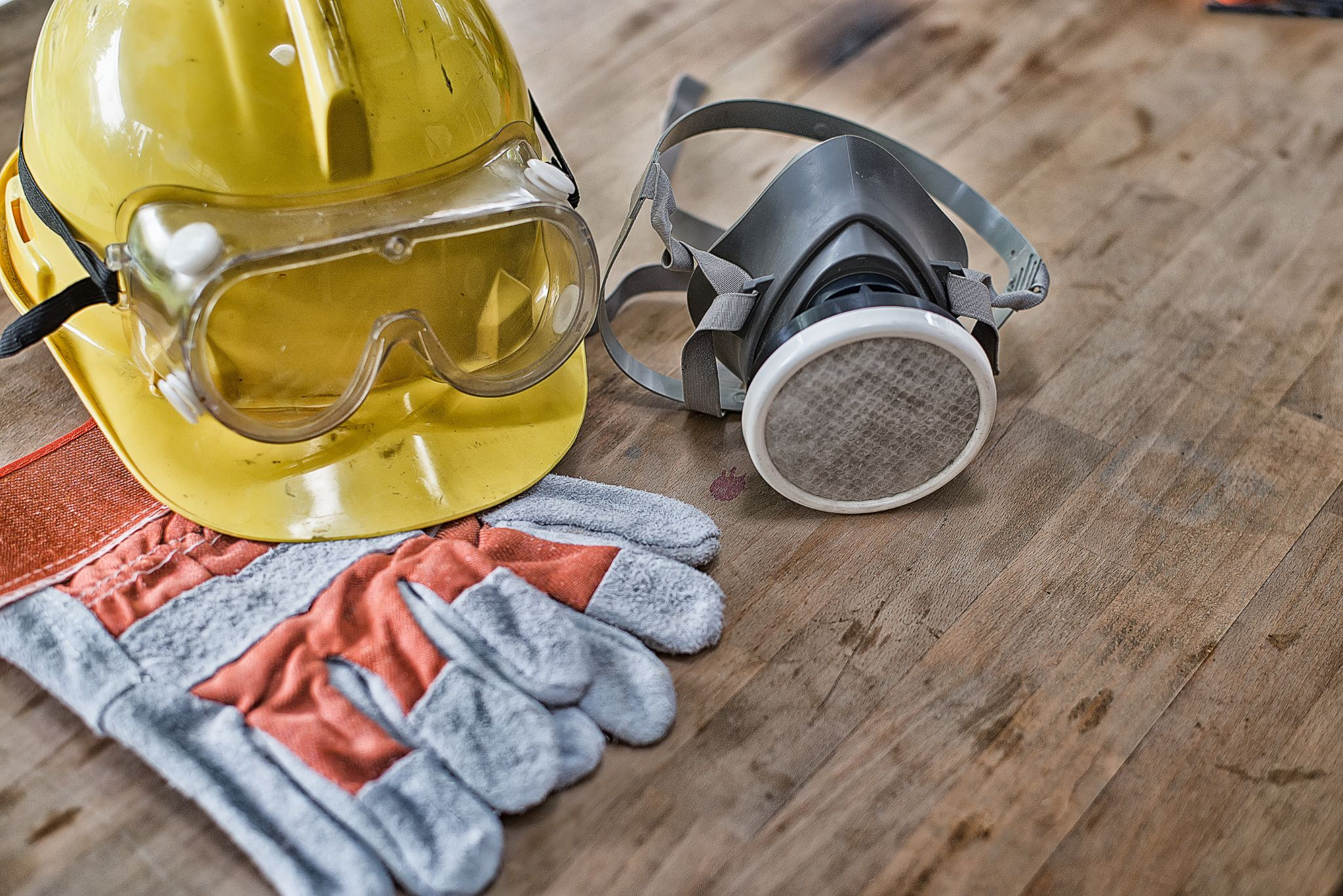 Close-up of standard personal protective equipment for construction workers