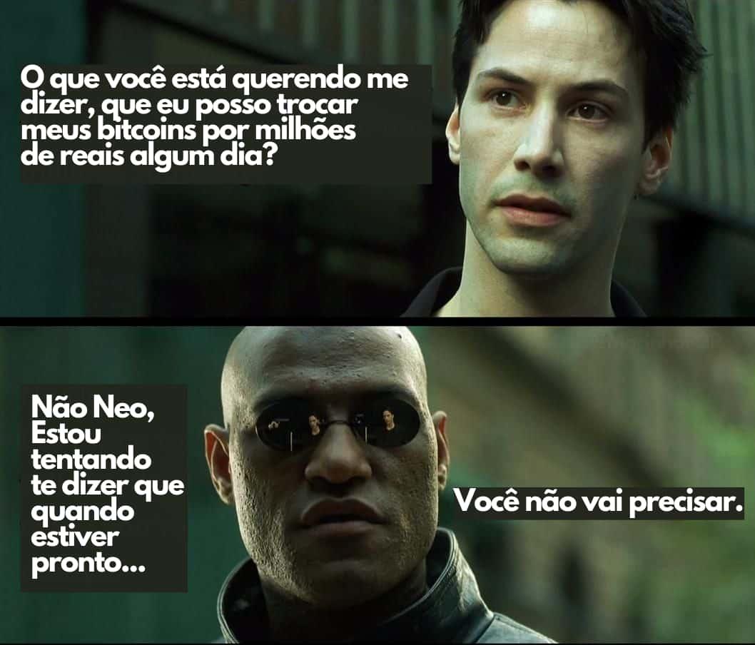 Meme: Neo, do Matrix, não vai precisar vender seus bitcoins
