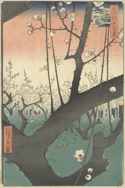 Utagawa Hiroshige, A Residência com Ameixeiras em Kameido, 1857