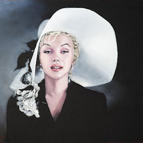 Marilyn in white hat by Jocelyne Maucotel - Painting All Painting ( marilyn monroe, painting, portrait )