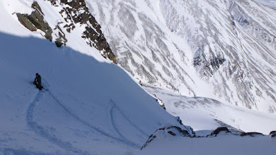 Photo: Our switchbacks in the couloir. We started climbing soon after that.