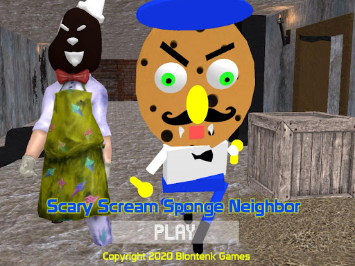 Scary Scream Neighbor Sponge Night  captures d'écran 1