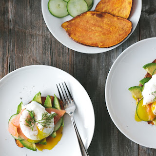 "Sweet Potato ""Toast"" with Avocado, Cucumber, Smoked Salmon and Poached Egg"