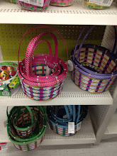 Photo: I saw these baskets that were bamboo and woven with ribbom and almost considered getting one of them.