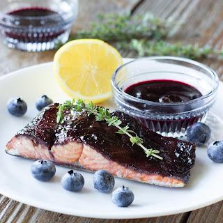 Blueberry Balsamic Glazed Salmon.
