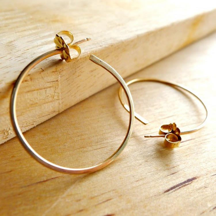 (NEW)14k Gold Medium Hoops by Heavenly Gems