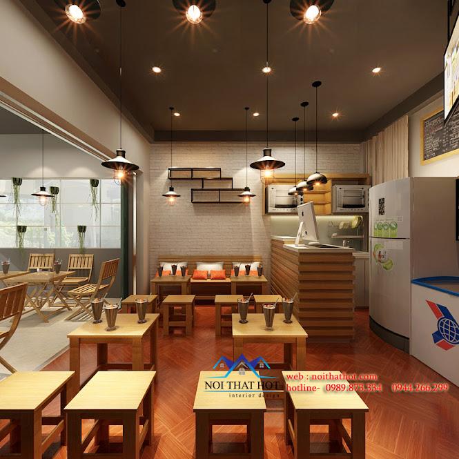 thiết kế quán ăn nhanh đẳng cấp, thiết kế quán trà sữa
