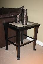 Photo: Side table.  Aluminum and reclaimed barn wood.  Black powder-coated finish.