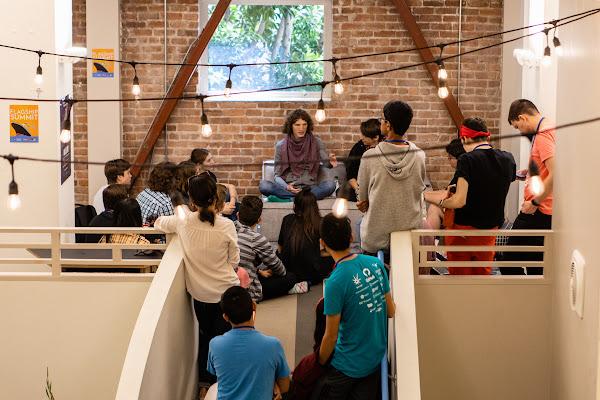 Students having a conversation at Flagship