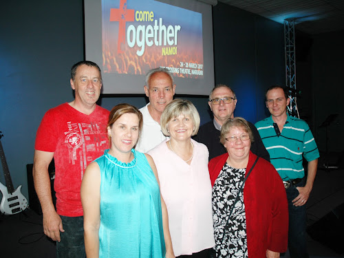 At the launch of Come Together Namoi at the Christian Outreach Centre on Friday night were, back, Tim Baxter (Anglican Church), Mike Ross (International Network of Churches or INC), Keith Bates (New Life), Sam Smith (Presbyterian), front, Renee Ritchie (NCF Church), Anne Ross (INC) and Margaret Bates (New Life). Mr Bates and Mrs Ritchie are the co-chairs of the steering committee for the March event.