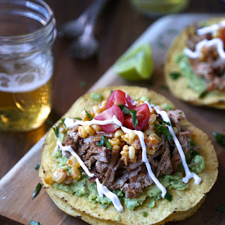 Slow Cooker Spiced Baby Back Rib Tostadas with Corn Relish & Crema