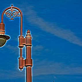Lamp O' Blue Paper Sky by Tj Barney - City,  Street & Park  Street Scenes ( cool, sky, red, hdr, blue, lamp, photo )