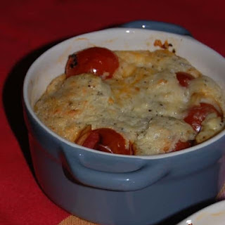 Clafoutis with Cherry Tomatoes.