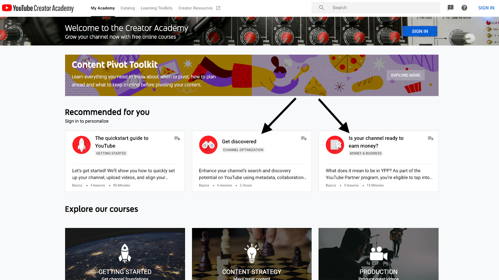 Youtube's creator academy focuses on discovery and monetization