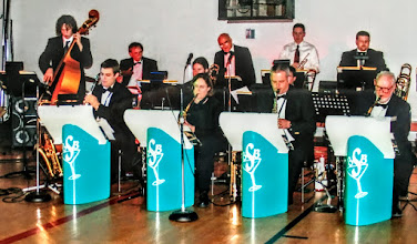 Photo: The Big Swing Band:  Former JRDC member Roy Barnhart on sax, lower right