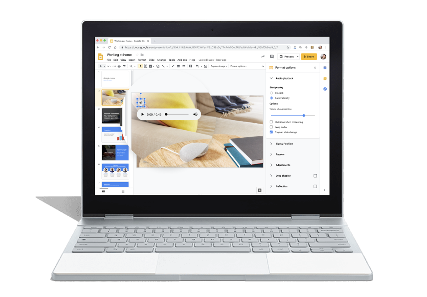 How to add an audio file to google slides